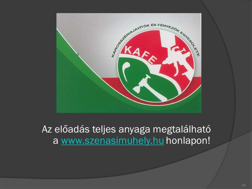 Az előadás teljes anyaga megtalálható a www.szenasimuhely.hu honlapon!