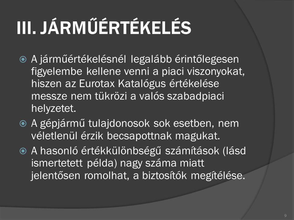 III. JÁRMŰÉRTÉKELÉS