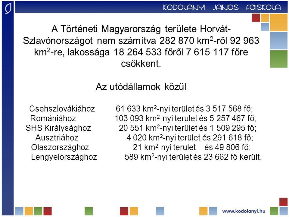 A Történeti Magyarország területe Horvát-Szlavónországot nem számítva 282 870 km2-ről 92 963 km2-re, lakossága 18 264 533 főről 7 615 117 főre csökkent.