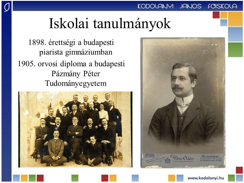 Iskolai tanulmányok 1898. érettségi a budapesti piarista gimnáziumban 1905.