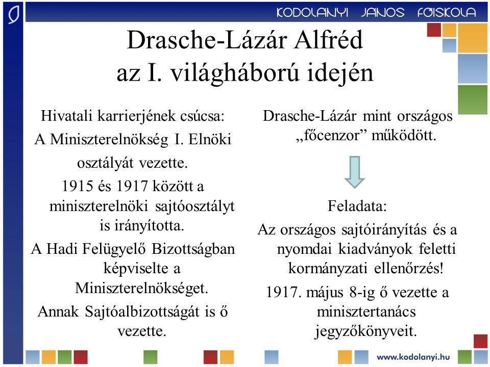 Drasche-Lázár Alfréd az I. világháború idején