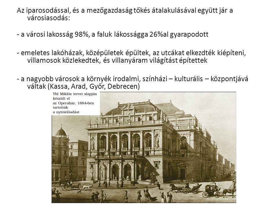 Az iparosodással, és a mezőgazdaság tőkés átalakulásával együtt jár a városiasodás: - a városi lakosság 98%, a faluk lákosságga 26%al gyarapodott - emeletes lakóházak, középületek épültek, az utcákat elkezdték kiépíteni, villamosok közlekedtek, és villanyáram világítást építettek - a nagyobb városok a környék irodalmi, színházi – kulturális – központjává váltak (Kassa, Arad, Győr, Debrecen)