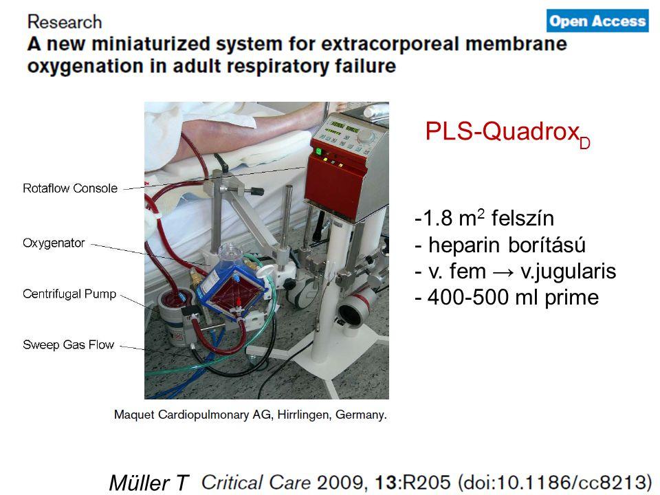 PLS-QuadroxD 1.8 m2 felszín heparin borítású v. fem → v.jugularis