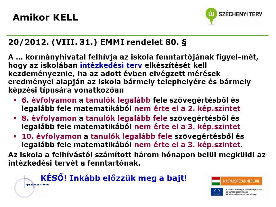 Amikor KELL 20/2012. (VIII. 31.) EMMI rendelet 80. §