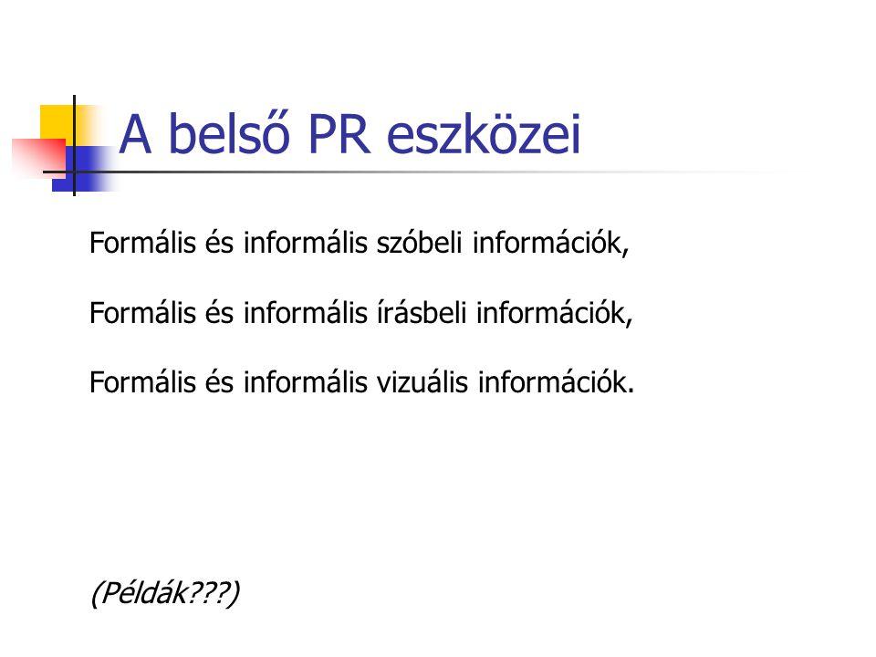 A belső PR eszközei Formális és informális szóbeli információk,