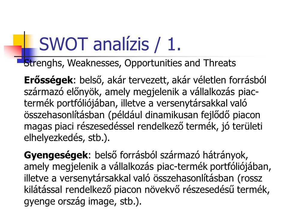 SWOT analízis / 1. Strenghs, Weaknesses, Opportunities and Threats