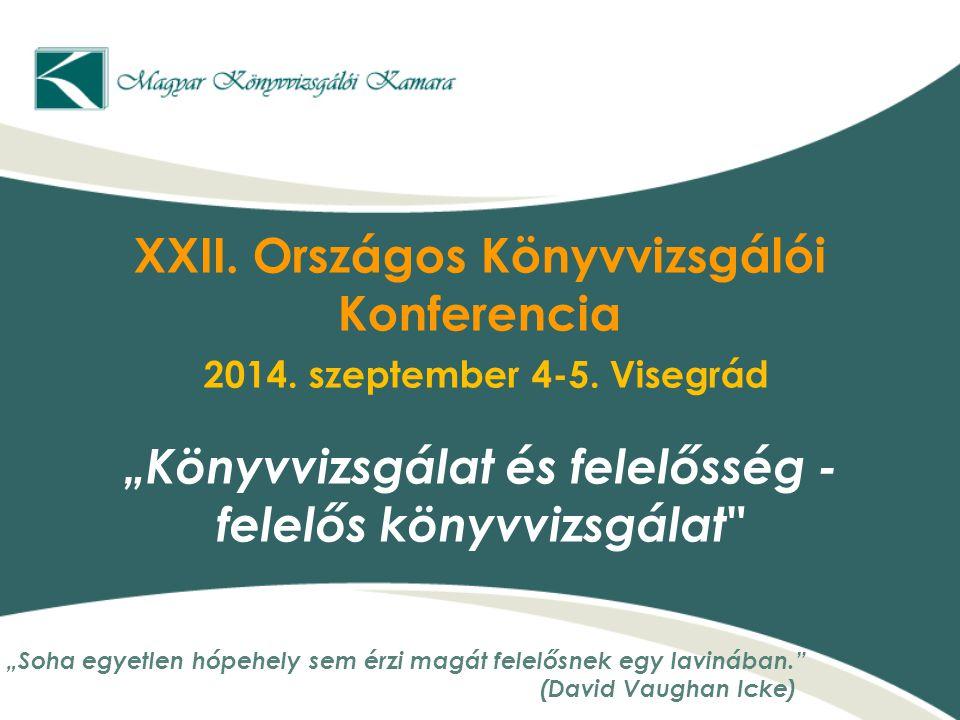 XXII. Országos Könyvvizsgálói Konferencia 2014. szeptember 4-5
