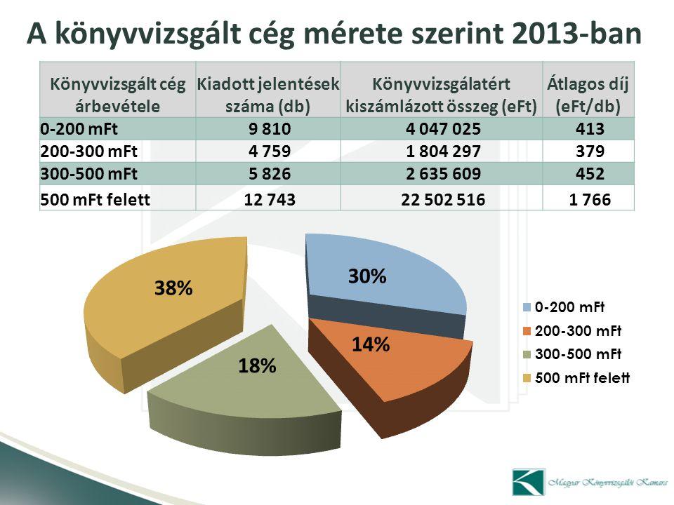 A könyvvizsgált cég mérete szerint 2013-ban
