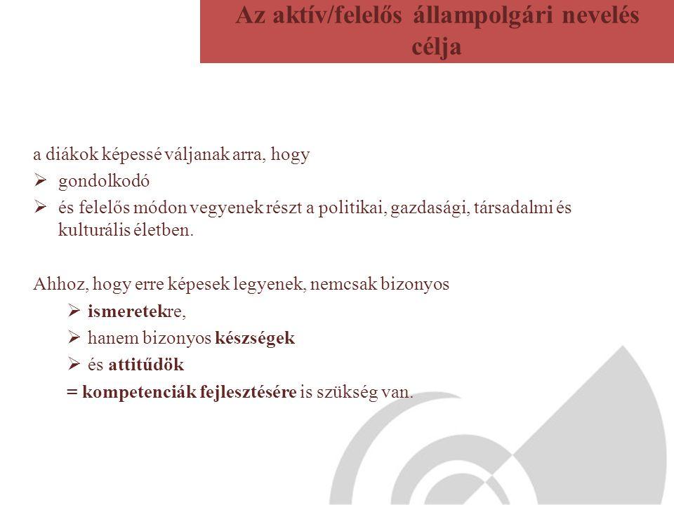 Az aktív/felelős állampolgári nevelés célja