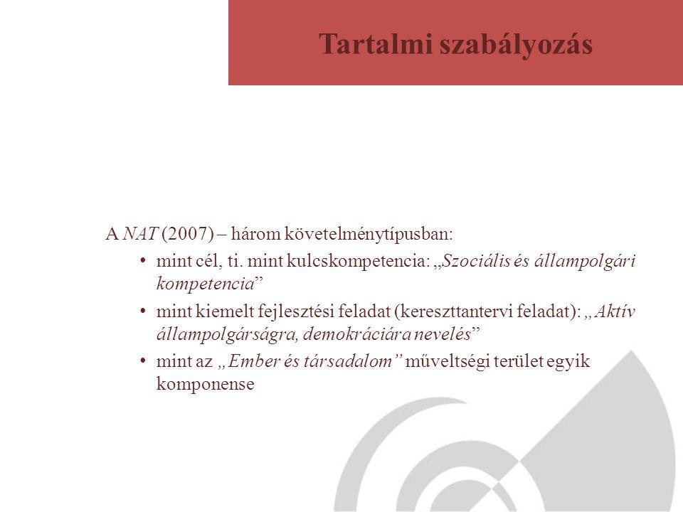 Tartalmi szabályozás A NAT (2007) – három követelménytípusban: