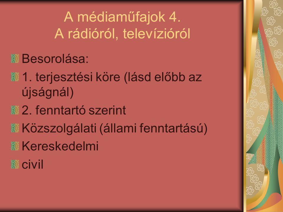 A médiaműfajok 4. A rádióról, televízióról