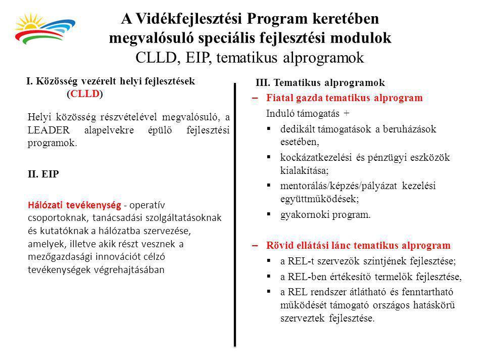 A Vidékfejlesztési Program keretében megvalósuló speciális fejlesztési modulok CLLD, EIP, tematikus alprogramok