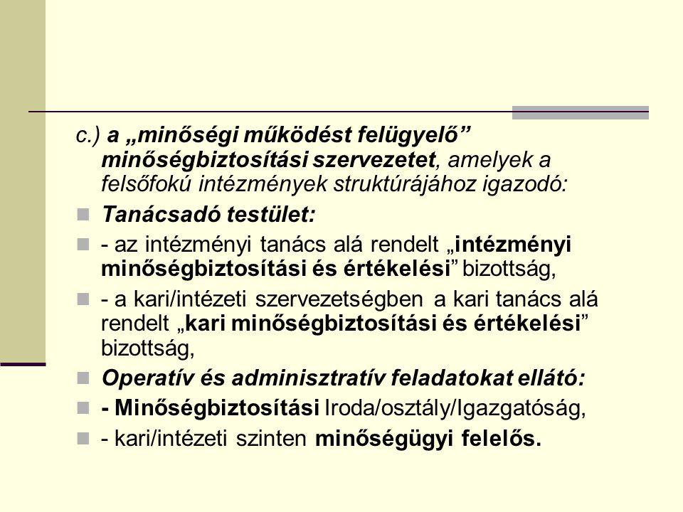 """c.) a """"minőségi működést felügyelő minőségbiztosítási szervezetet, amelyek a felsőfokú intézmények struktúrájához igazodó:"""