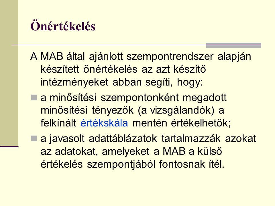 Önértékelés A MAB által ajánlott szempontrendszer alapján készített önértékelés az azt készítő intézményeket abban segíti, hogy: