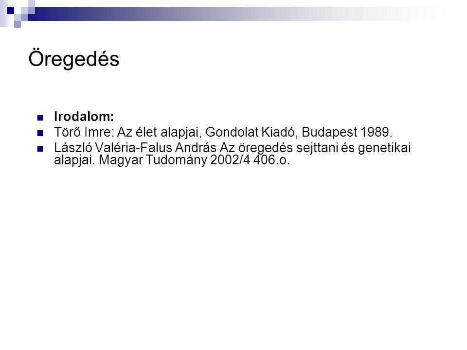 Öregedés Irodalom: Törő Imre: Az élet alapjai, Gondolat Kiadó, Budapest 1989.