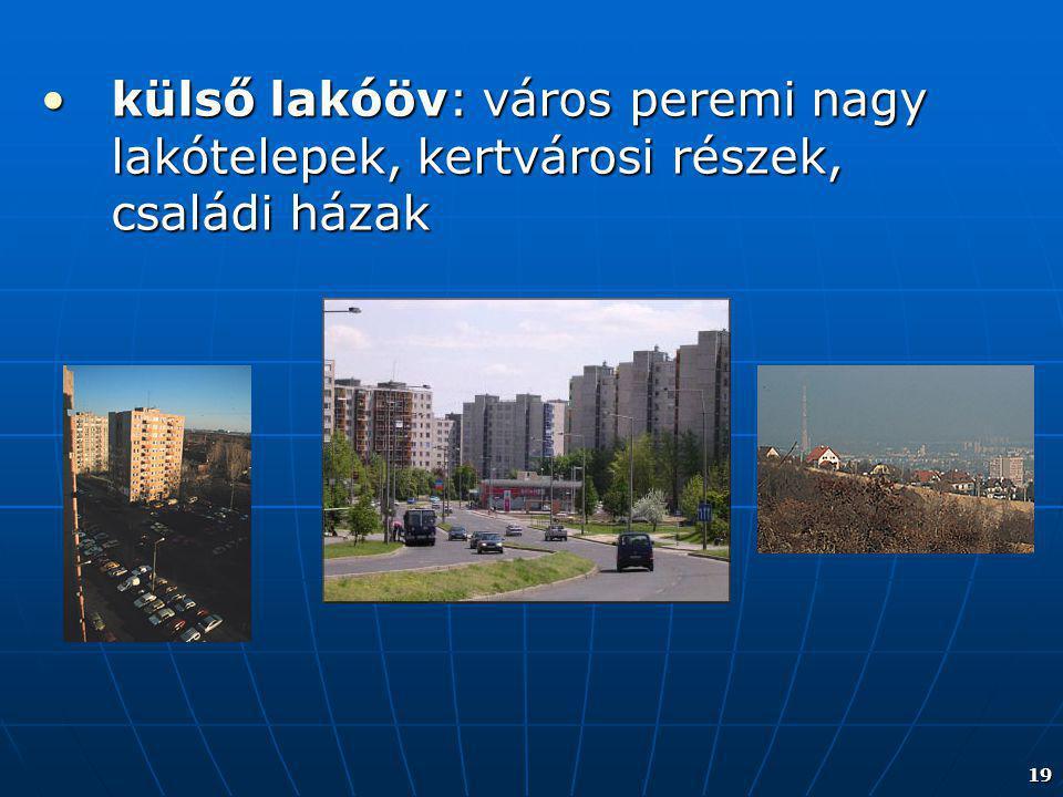 külső lakóöv: város peremi nagy lakótelepek, kertvárosi részek, családi házak