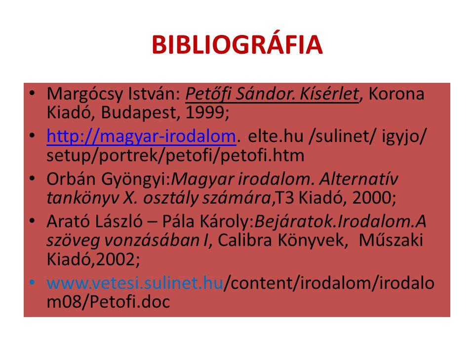 BIBLIOGRÁFIA Margócsy István: Petőfi Sándor. Kísérlet, Korona Kiadó, Budapest, 1999;