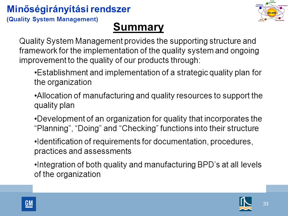 Summary Minőségirányítási rendszer (Quality System Management)