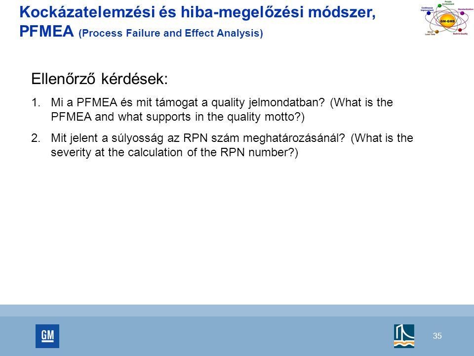 Kockázatelemzési és hiba-megelőzési módszer, PFMEA (Process Failure and Effect Analysis)