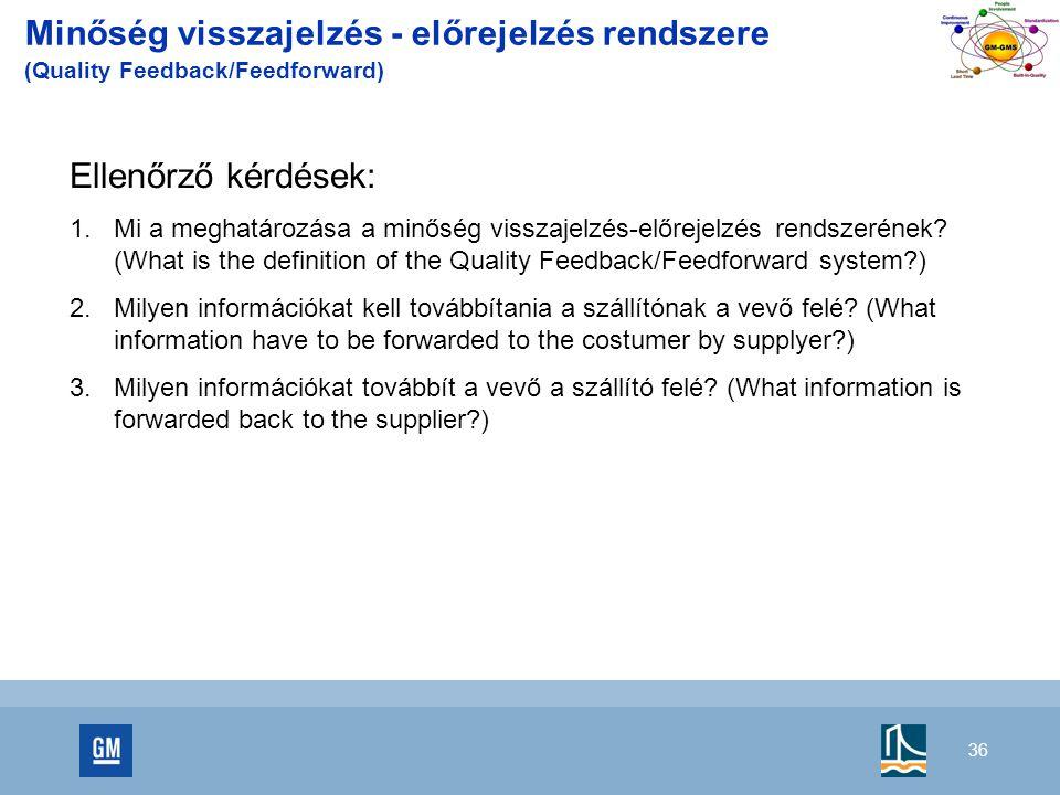 Minőség visszajelzés - előrejelzés rendszere (Quality Feedback/Feedforward)