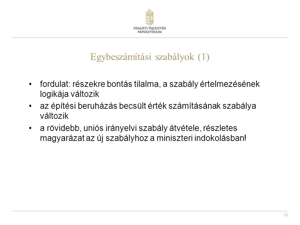 Egybeszámítási szabályok (1)