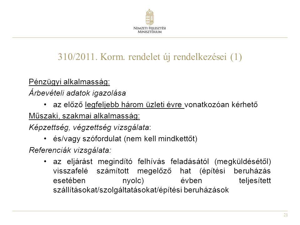 310/2011. Korm. rendelet új rendelkezései (1)