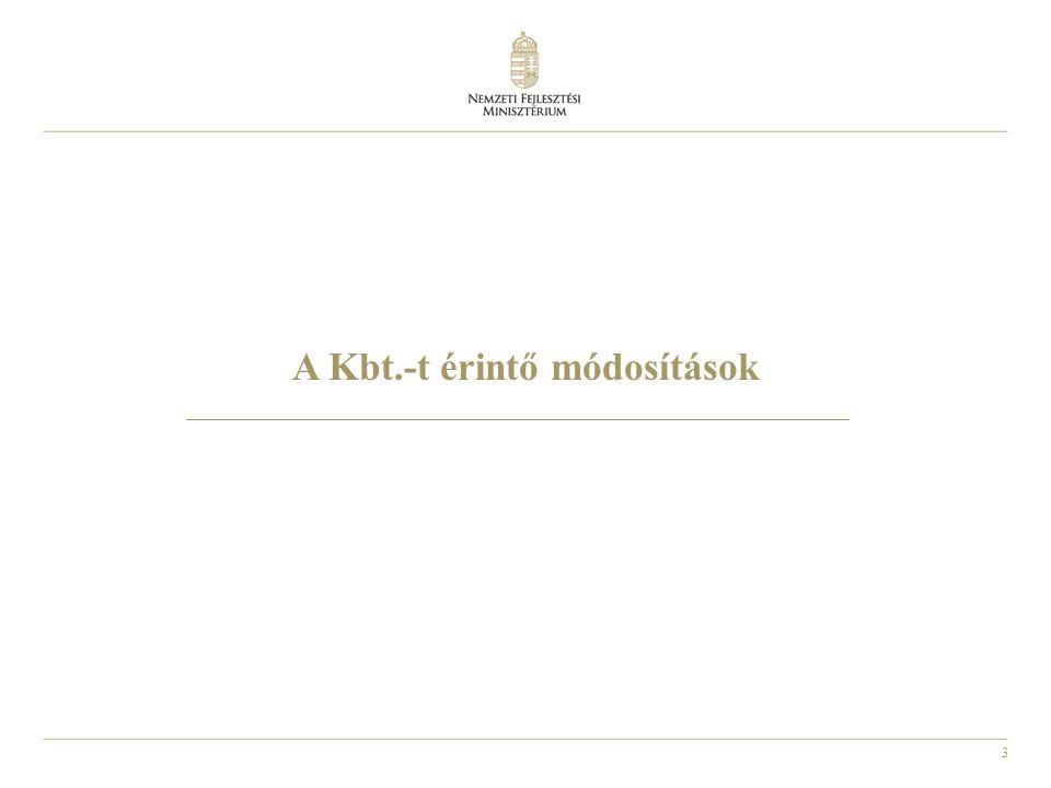A Kbt.-t érintő módosítások