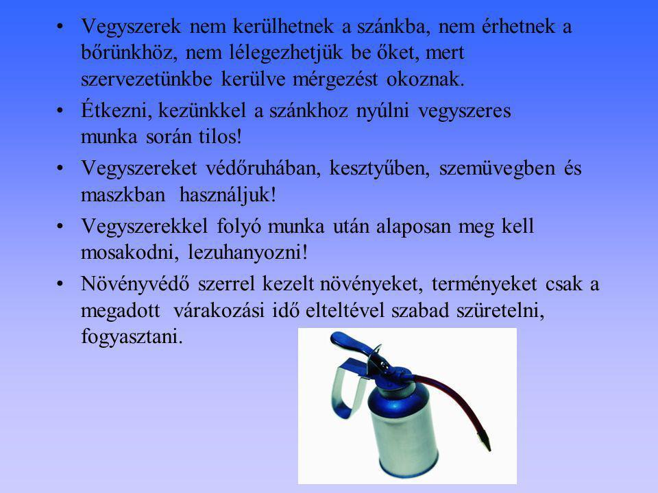 Vegyszerek nem kerülhetnek a szánkba, nem érhetnek a bőrünkhöz, nem lélegezhetjük be őket, mert szervezetünkbe kerülve mérgezést okoznak.