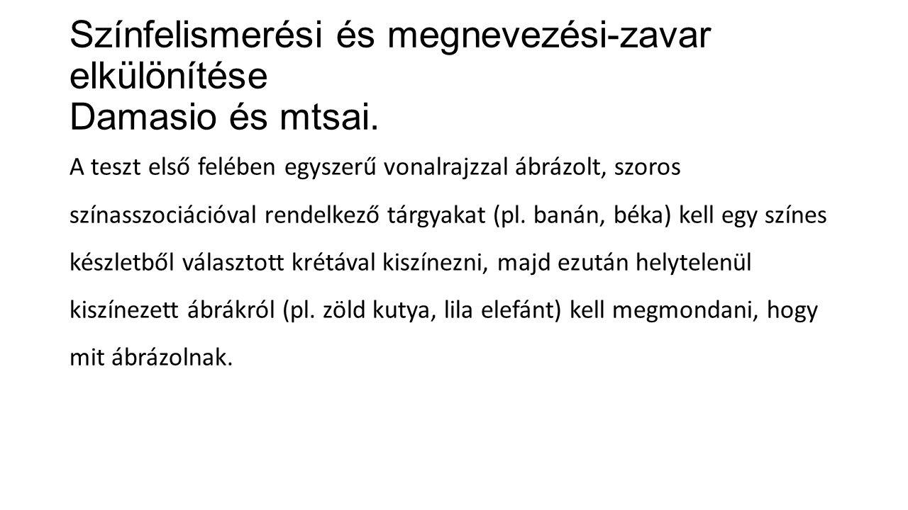 Színfelismerési és megnevezési-zavar elkülönítése Damasio és mtsai.