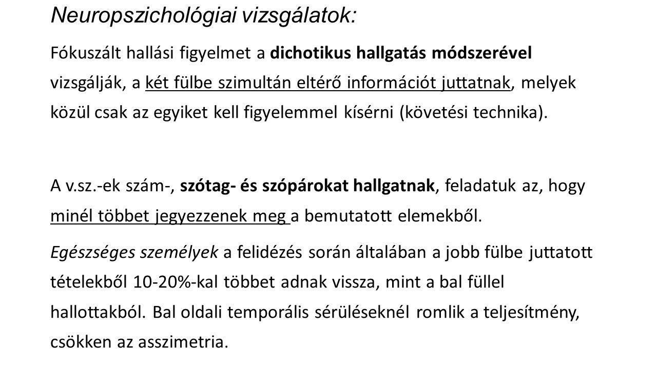 Neuropszichológiai vizsgálatok: