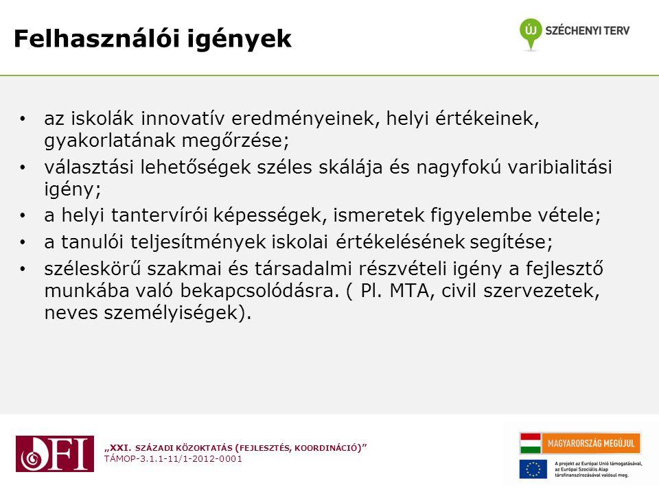 Felhasználói igények az iskolák innovatív eredményeinek, helyi értékeinek, gyakorlatának megőrzése;