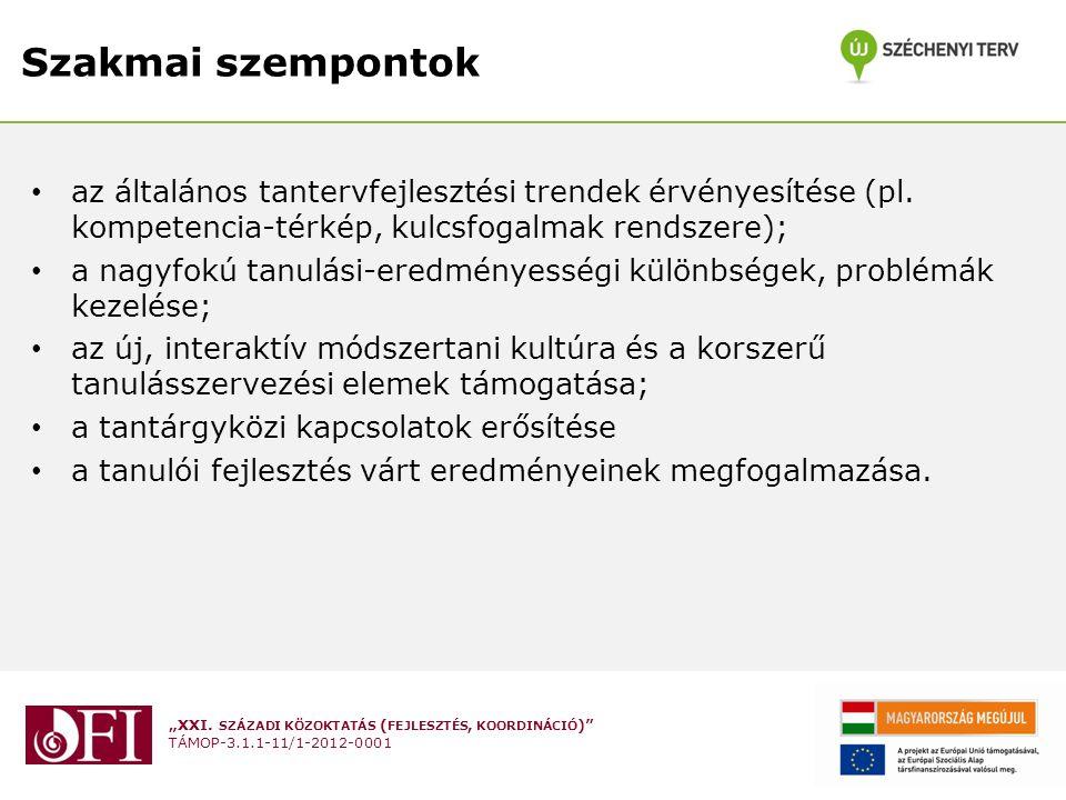 Szakmai szempontok az általános tantervfejlesztési trendek érvényesítése (pl. kompetencia-térkép, kulcsfogalmak rendszere);