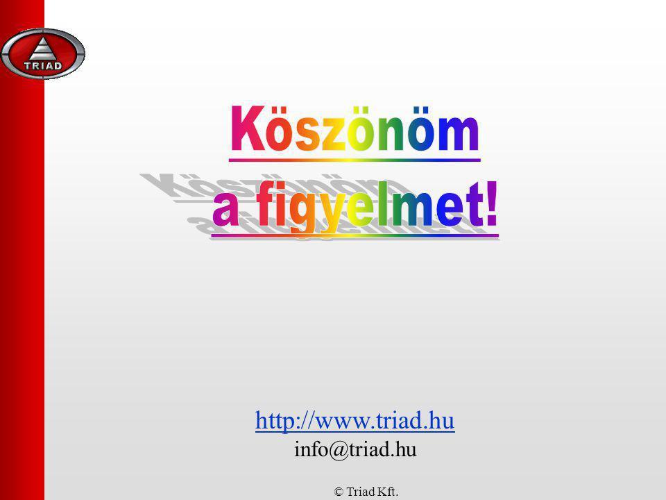 Köszönöm a figyelmet! http://www.triad.hu info@triad.hu © Triad Kft.