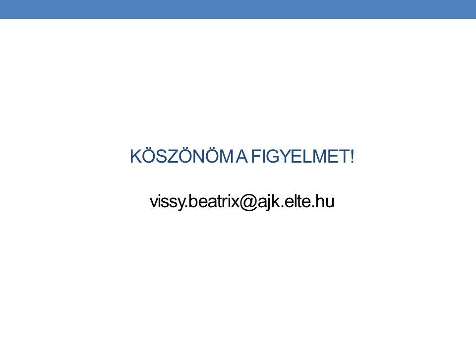 KÖSZÖNÖM A FIGYELMET! vissy.beatrix@ajk.elte.hu