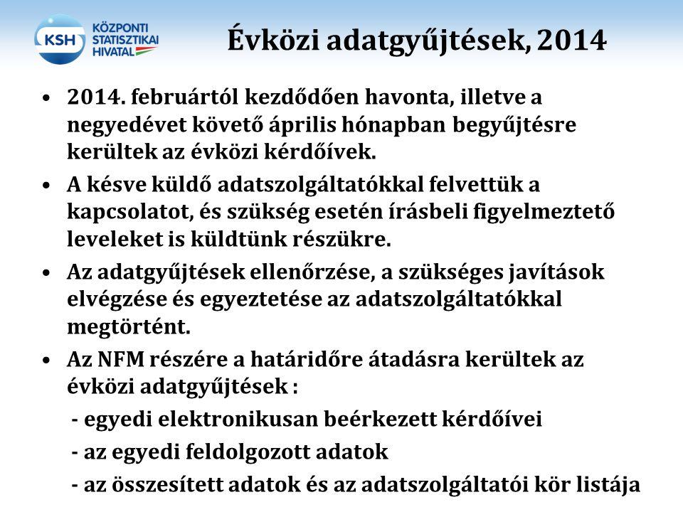 Évközi adatgyűjtések, 2014 2014. februártól kezdődően havonta, illetve a negyedévet követő április hónapban begyűjtésre kerültek az évközi kérdőívek.