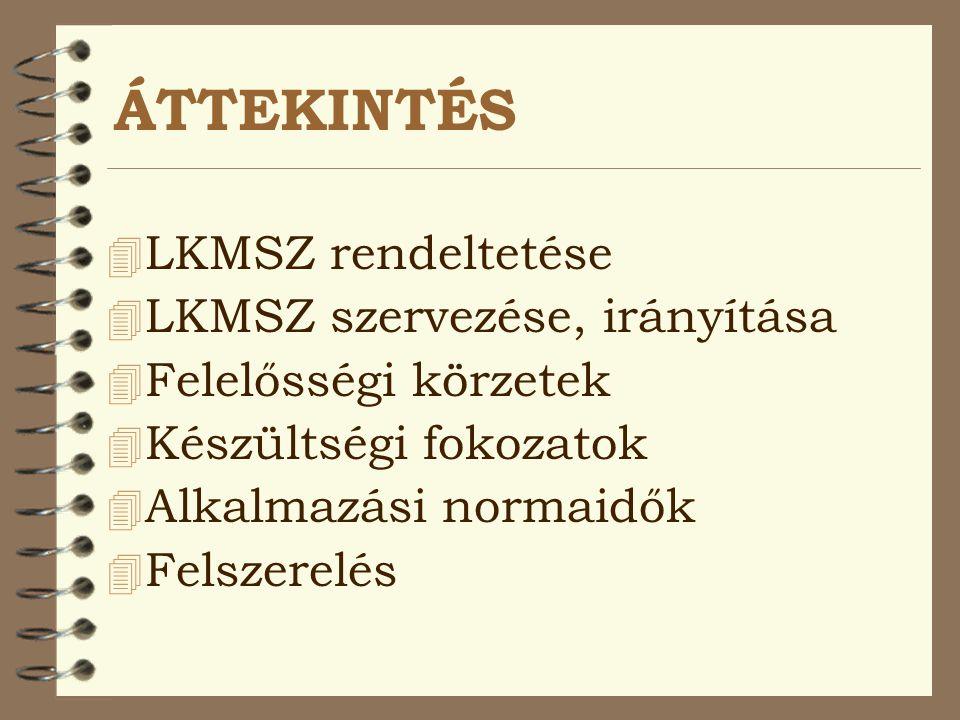 ÁTTEKINTÉS LKMSZ rendeltetése LKMSZ szervezése, irányítása