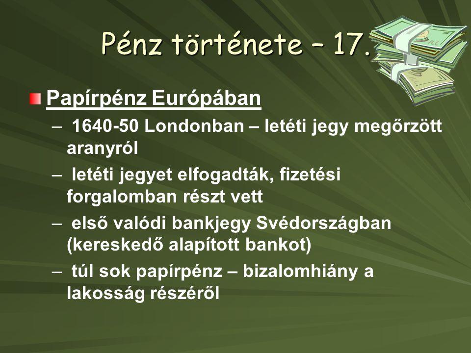 Pénz története – 17. Papírpénz Európában