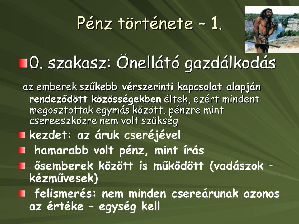 Pénz története – 1. 0. szakasz: Önellátó gazdálkodás.