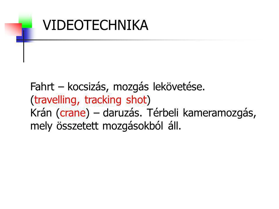 VIDEOTECHNIKA Fahrt – kocsizás, mozgás lekövetése.