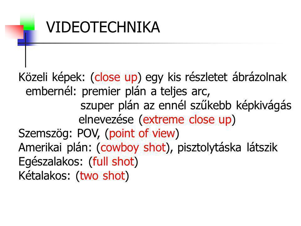 VIDEOTECHNIKA Közeli képek: (close up) egy kis részletet ábrázolnak