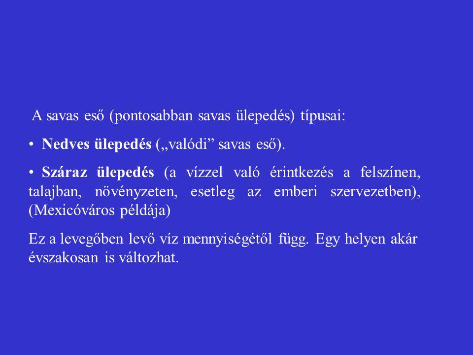 A savas eső (pontosabban savas ülepedés) típusai: