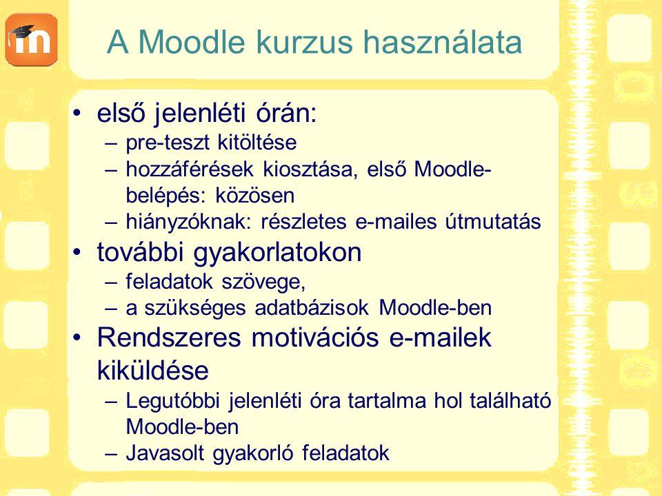 A Moodle kurzus használata
