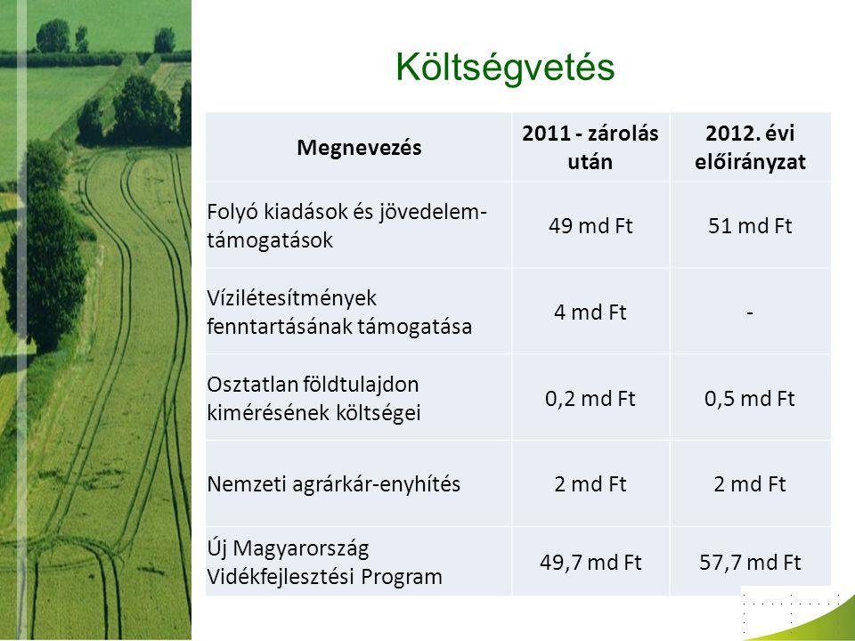 Költségvetés Megnevezés 2011 - zárolás után 2012. évi előirányzat
