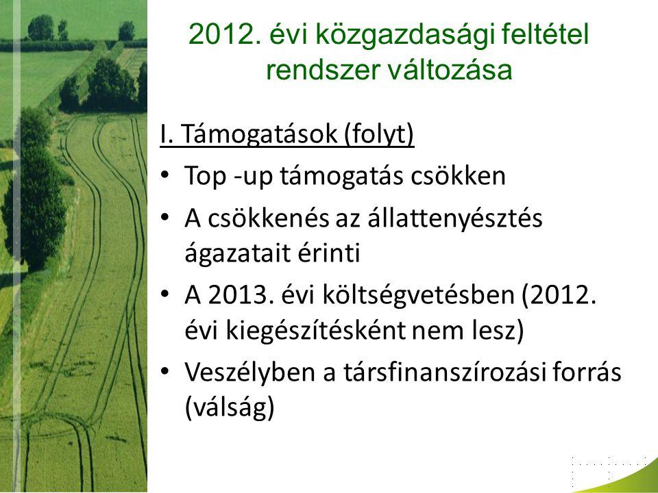 2012. évi közgazdasági feltétel rendszer változása