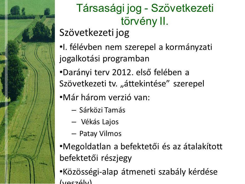 Társasági jog - Szövetkezeti törvény II.