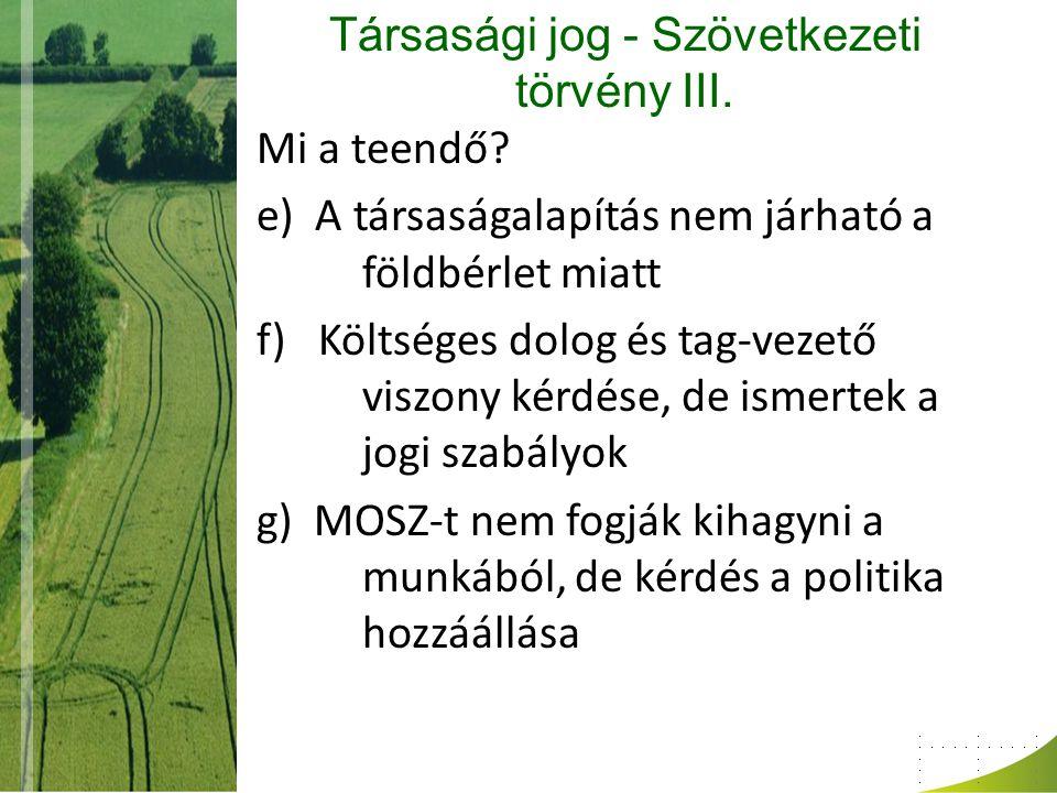 Társasági jog - Szövetkezeti törvény III.