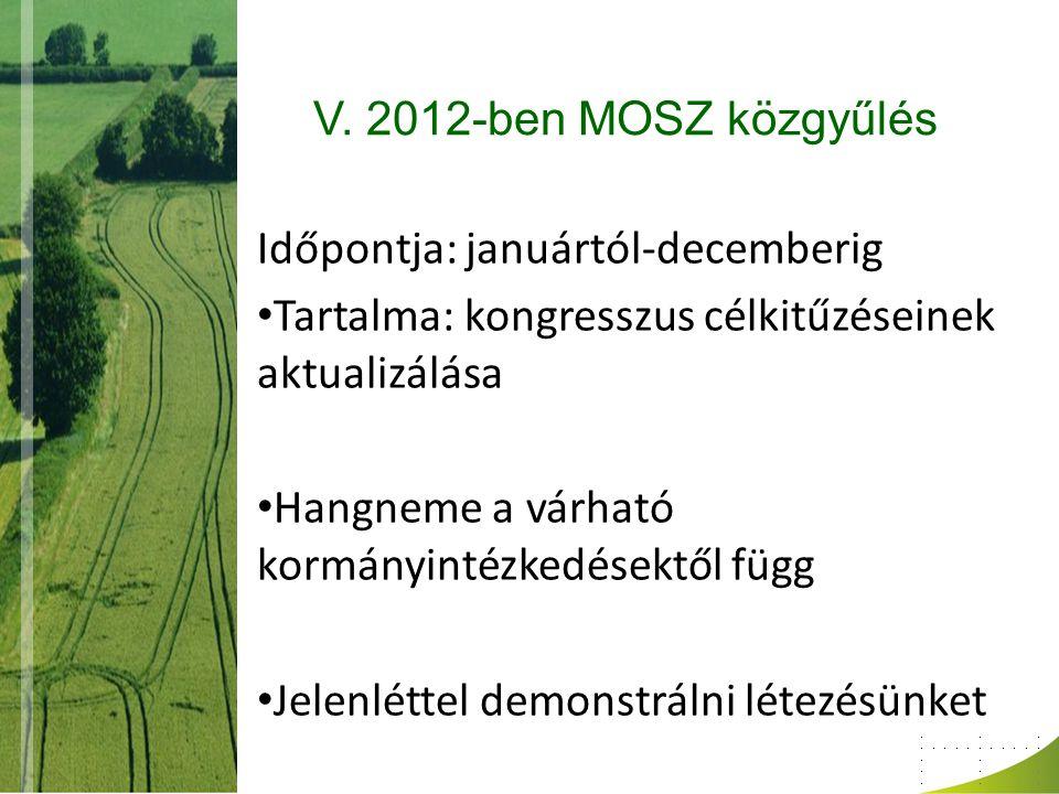 V. 2012-ben MOSZ közgyűlés Időpontja: januártól-decemberig. Tartalma: kongresszus célkitűzéseinek aktualizálása.