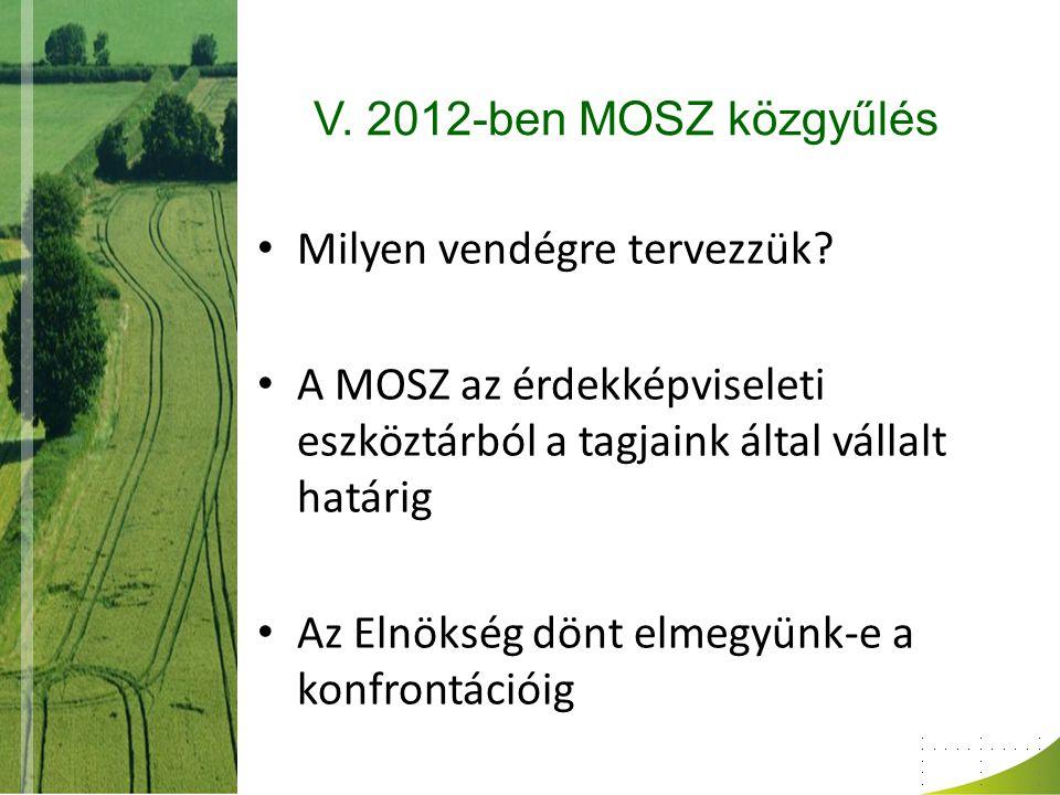V. 2012-ben MOSZ közgyűlés Milyen vendégre tervezzük A MOSZ az érdekképviseleti eszköztárból a tagjaink által vállalt határig.
