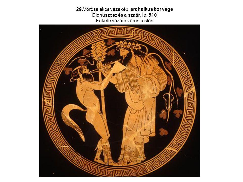 29. Vörösalakos vázakép, archaikus kor vége Dionüszosz és a szatír, ie