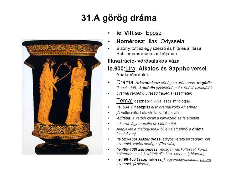 31.A görög dráma ie. VIII.sz- Eposz Homérosz: Ilias, Odysseia
